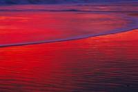 Beach Reflection #2,Sunset, Red, Santa Cruz