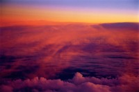 Sunset from airplane, Clouds, Abstract