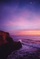 Moon, sunset, wave, cliff, ocean
