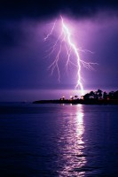 Lightning Santa Cruz Lighthouse Ocean Purple