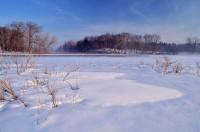 Snowy-Sudbury-River-Massachusetts, Ice, Trees, Snow, Blue Sky, Winter