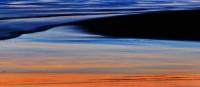 Santa Cruz, Reflection, Beach, Sunset, Ocean, Blue, Painting, Painterly, California