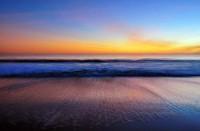 Seabright Beach, Santa Cruz, Sunset, California, Painting, Painterly, Blur, Blurred, Blue, Orange, Waves,